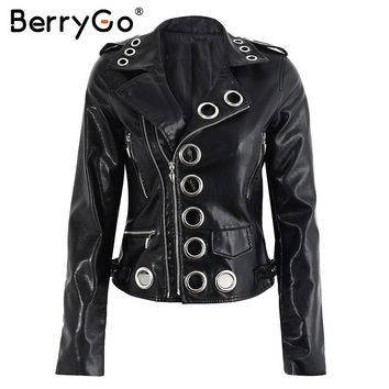 BeryGo Eyelet moto jacket  zipper 2017 Zipper black PU leather coat jacket women Fsahion basic winter jacket women outwear coat