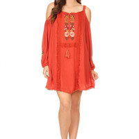 1071-Orange off shoulder embroidery tunic dress