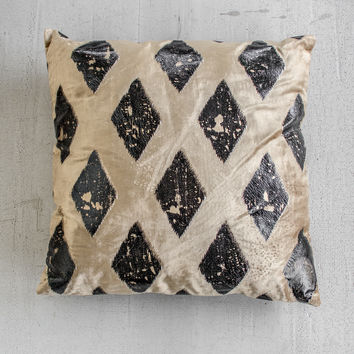 Beige Velvet Pillow with Gold & Black Foil Diamond Print