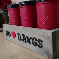 Georgia Bulldog Mason Jar Decor - Go Dawgs Decor - Rustic Go Dawgs Jar Decor