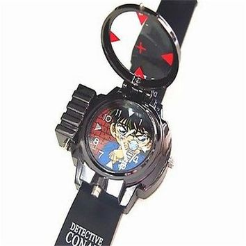 Detective Conan Infrared Glass Red Light Laser zoom Analog Cartoon Characters wristwatch