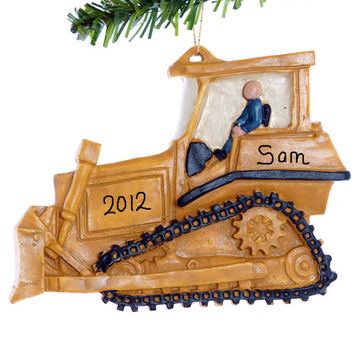 Bulldozer Christmas Ornament - personalized free - boys construction ornament - yellow dozer ornament