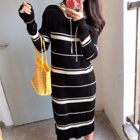 Casual Multicolor Stripe Letter Print Long Sleeve Medium Long Section Knit Hoodie Tops Mini Dress