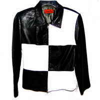 Vintage Designer Leather Jacket Black and White Color Block