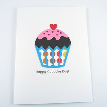 Cupcake card, Happy Birthday Card, happy cupcake day, celebration card, blank greeting card, handmade