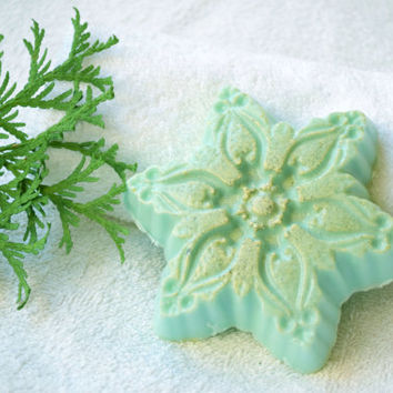 Christmas soap Snowflake soap Holiday soap stocking stuffer Christmas party favors Winter soap Handmade soap White Clay soap Holiday gift