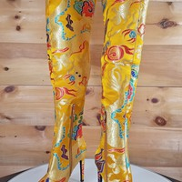 Yellow Satin Oriental Dragon Embroidery OTK Thigh Boot High Heel