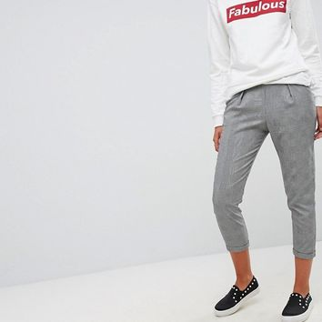 Stradivarius Check Tapered Trousers at asos.com