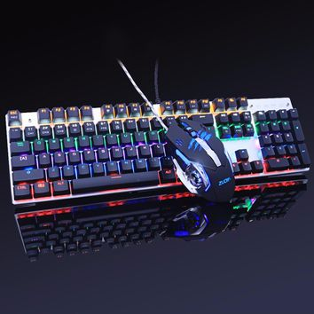 gaming mechanical keyboard Anti-ghosting mouse combo Backlit LED+USB wired gaming mouse metal 3200DPI Russian stickers