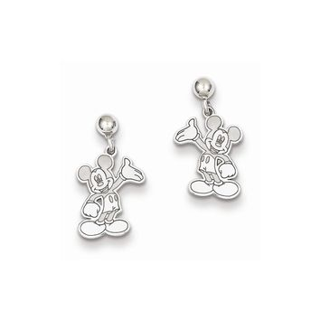 Sterling Silver or Yellow Gold Plated Disney Waving Mickey Dangle Post Earrings