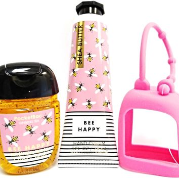 Bath and Body Works Bee Happy Hand Cream, PocketBac & Hot Pink Holder