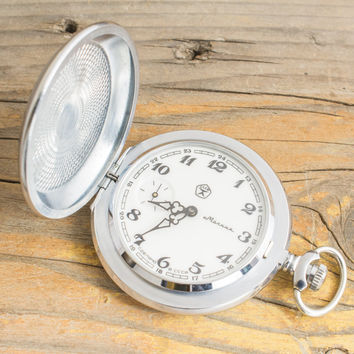 Vintage Molnia pocket watch, vintage russian pocket watch ussr cccp