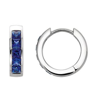 3.6 x 14mm 14k White Gold Created Blue Sapphire Hinged Hoop Earrings