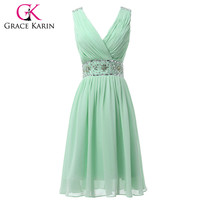 Grace Karin Real Picture Chiffon Mint Green Short Bridesmaid Dresses Knee Length V-Neck Prom Party Dress Beaded and Sequins