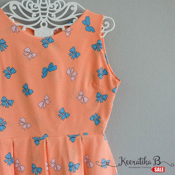 SALE - Backless pale orange bow printed summer dress simple pleated dress bow back tie dress Small