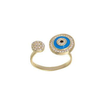 Gold Over Sterling Silver CZ Round Evil Eye Open Wrap Ring