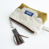 Cosmetic bag pouch pencil pouch beauty bag pencil case makeup bag zipper pouch western country cottage chic beige green leather tassel