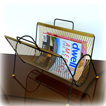1950s VINTAGE MID CENTURY Modern Magazine Rack in Lovely Geometric Gold & Black Metal Mesh Atomic Retro Mid Mod Mcm Googie