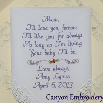 Wedding Gift Embroidered Wedding Handkerchief Mother of the Bride Embroidered Wedding Hankerchiefs Your Baby I'll Be by Canyon Embroidery