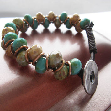 Boho Turquoise Beaded Leather Bracelet, Brown leather, Picasso Beads, Jumpring bracelet, Chunky bracelet