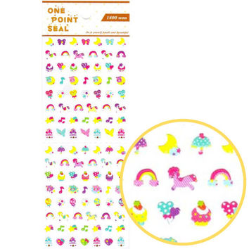Tiny My Little Pony Rainbows Bows and Sweets Shaped Sticker Envelope Seal | Cute Scrapbook Decorating Supplies