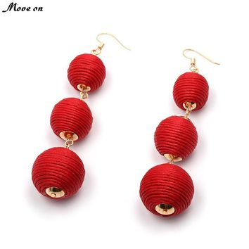 Fashion Jewelry Bon Bon Earrings Thread Wrapped Three Crispin Thread Ball Ear Drop Line Earrings Pom Pom Color Thread Gifts