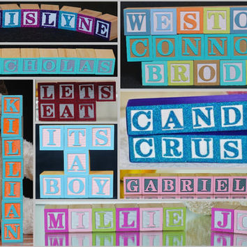 6 LETTERS - Baby Names in Wooden Blocks,  Nursery Blocks, Alphabet Letters, Wooden Alphabet Letters, Baby Name Sign, Maternity Photos