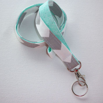 Lanyard ID Badge Holder - Gray zig zag chevron with Aqua, mint, or coral   - Lobster clasp and key ring - keychain