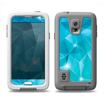 The Vector Shiny Blue Crystal Pattern Samsung Galaxy S5 LifeProof Fre Case Skin Set