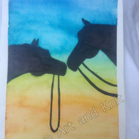 Art, watercolour, painting, art home decor, wall art, watercolor painting, birthday gift, horses, love horses,