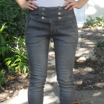 Vintage Inspired 40s Skinny Sailor Nautical High-Waist Ankle Jeans Size 25