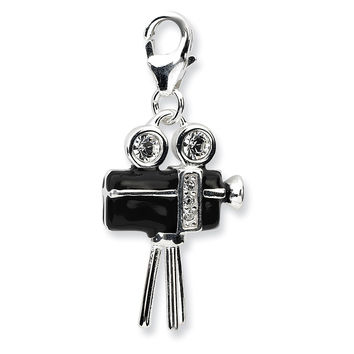 925 Silver 3D Movie Camera Charm Created with Swarovski Crystals
