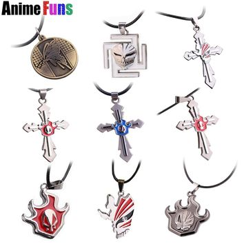 9 type Anime Bleach Choker Statement Necklace Kurosaki Ichigo Broken Mask Skull Pendant Cosplay Accessories Jewelry Charm Gift