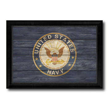 US Navy Seal Military Flag Texture Canvas Print with Black Picture Frame Gift Ideas Home Decor Wall Art