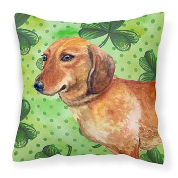 Dachshund St Patrick's Fabric Decorative Pillow BB9826PW1414