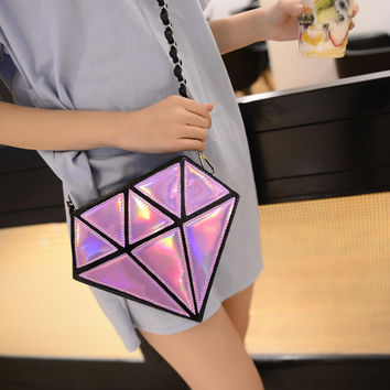 Pink Holographic Diamond Cross Body Bag