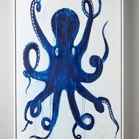 Kelly O'Neal Pulpo Wall Art in Blue Motif Size: One Size Decor