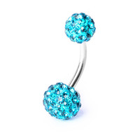 14G Turquoise Double Fireball Belly Ring