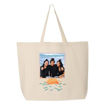 Custom Photo Tote Bag with Sun Frame - Upload Your Photo
