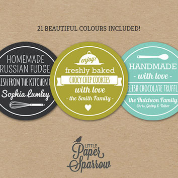 EDITABLE Vintage Rustic Food Labels - INSTANT DOWNLOAD - Printable Baking Labels - Handmade Gifts - Farmhouse - 21 Colours