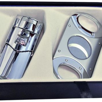 Visol Silver Phantom Lighter and Balboa Cigar Cutter Gift Set
