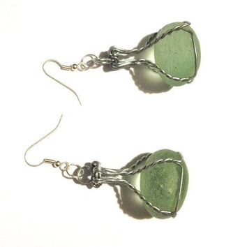 Natural sea glass earrings, sea foam colour, wire wrapped, champagne cork wire, loop earrings, wire cage, muselet