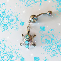 Belly Ring Tibetan Silver Mini Baby Turtle With Blue by Aim4Beauty