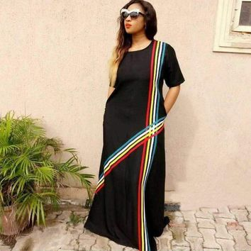 Black Long Straight Dress with Colorful Bands