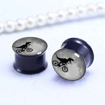 Pairs Dinosaur by bike   ear Plug  , Screw Gauge ear plugs , Black Titanium ear plugs ,0g,00g ,1/2, 9/16, 5/8, 3/4, 7/8,