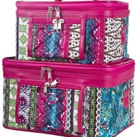 World Traveler Boho Patchwork Collection Cosmetic Train Case (2 piece set)