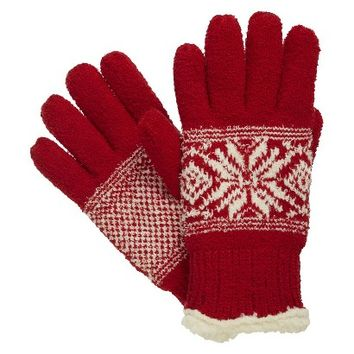 Impressions by Isotoner Snowflake Gloves - Red