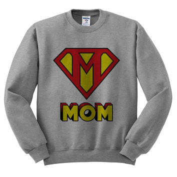 Grey Crewneck This Mom Is Super Mother's Day Sweatshirt Sweater Jumper Pullover