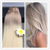 Full Shine Double Weft Clip Hair Extensions Balayage Human Hair Extensions100% Remy Human Hair Clip Ins Ombre Color #18 #613