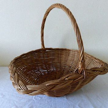 Vintage French Hand Crafted Gathering Basket Home Decor
